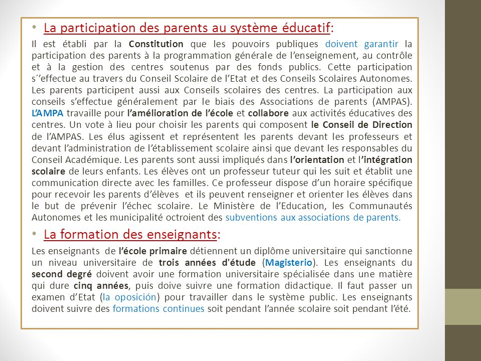 La participation des parents au système éducatif: