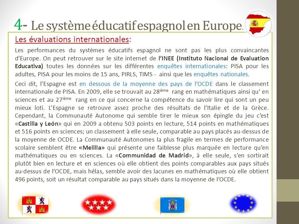 4- Le système éducatif espagnol en Europe.