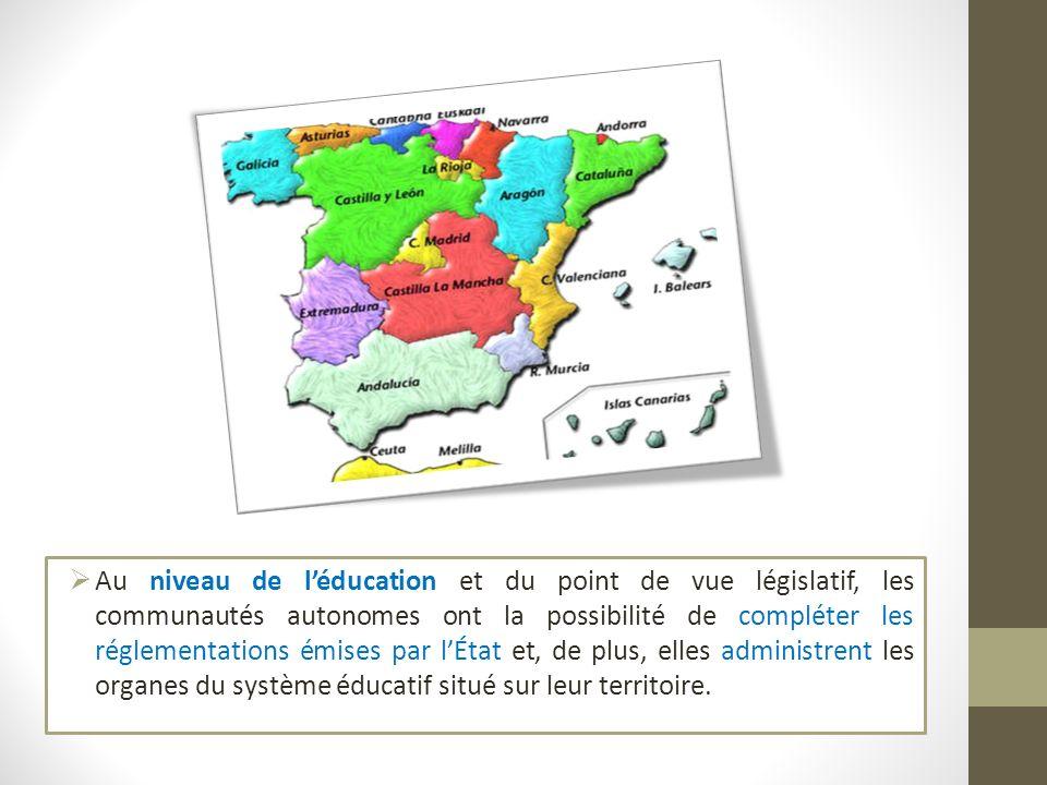 Au niveau de l'éducation et du point de vue législatif, les communautés autonomes ont la possibilité de compléter les réglementations émises par l'État et, de plus, elles administrent les organes du système éducatif situé sur leur territoire.