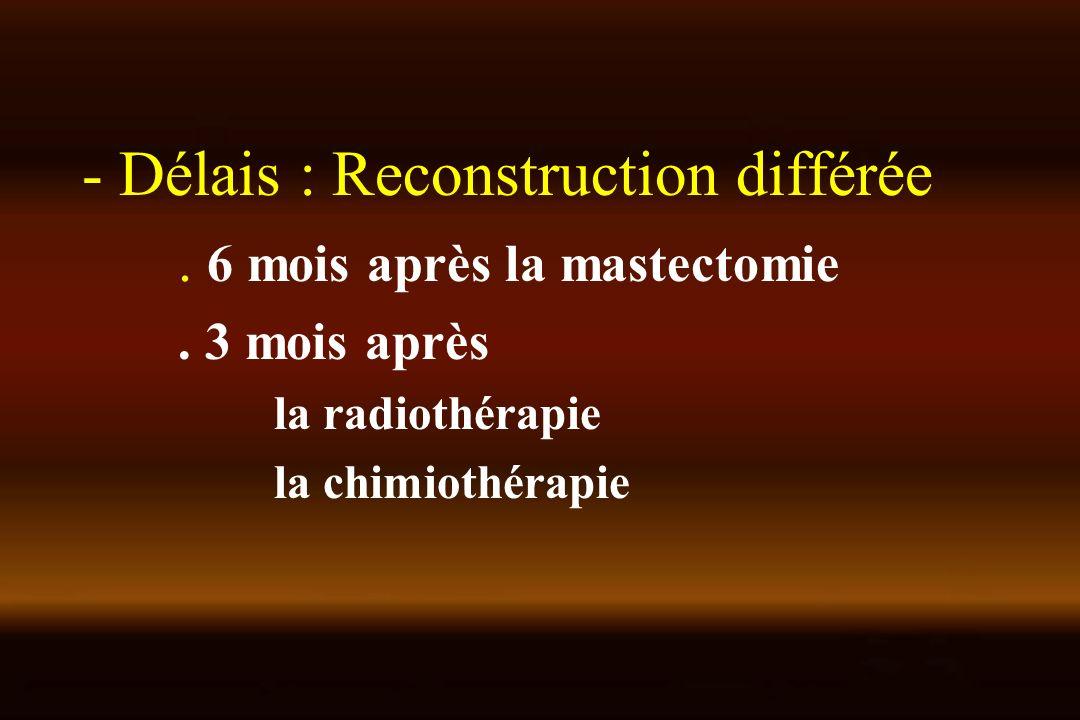 - Délais : Reconstruction différée