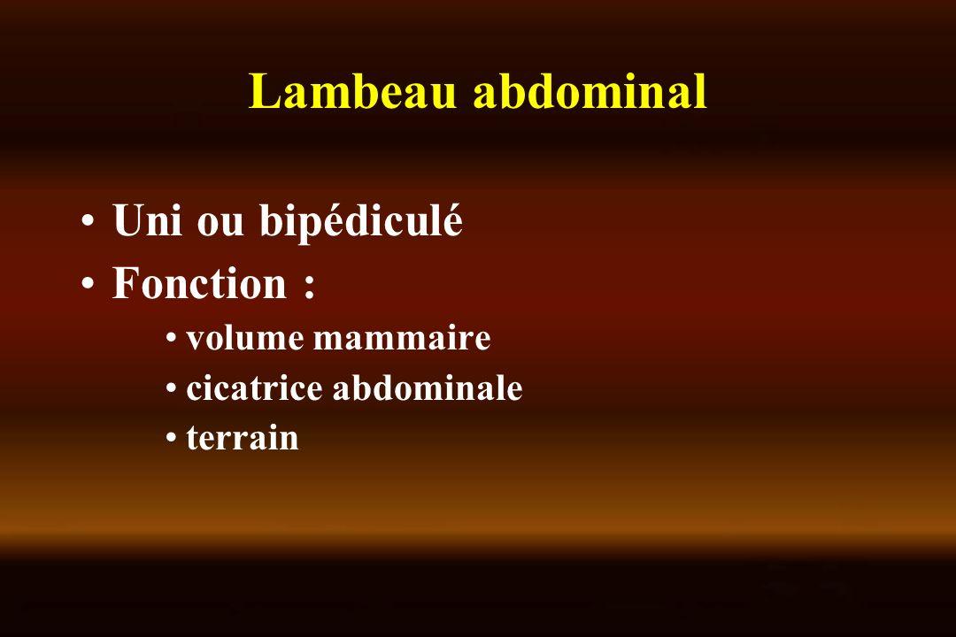 Lambeau abdominal Uni ou bipédiculé Fonction : volume mammaire