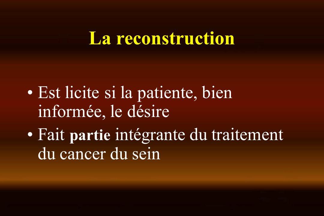 La reconstruction Est licite si la patiente, bien informée, le désire