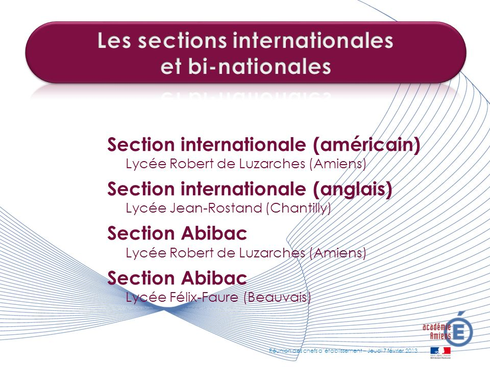 Les sections internationales