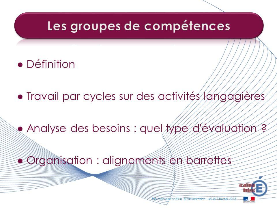 Les groupes de compétences