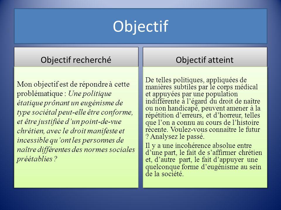 Objectif Objectif recherché Objectif atteint