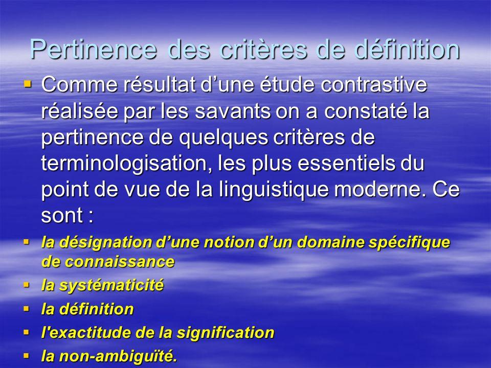 Pertinence des critères de définition