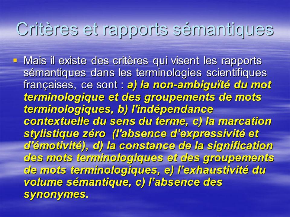 Critères et rapports sémantiques