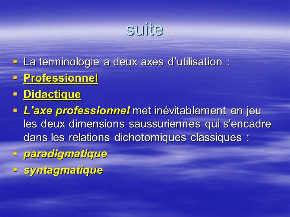 suite La terminologie a deux axes d'utilisation : Professionnel