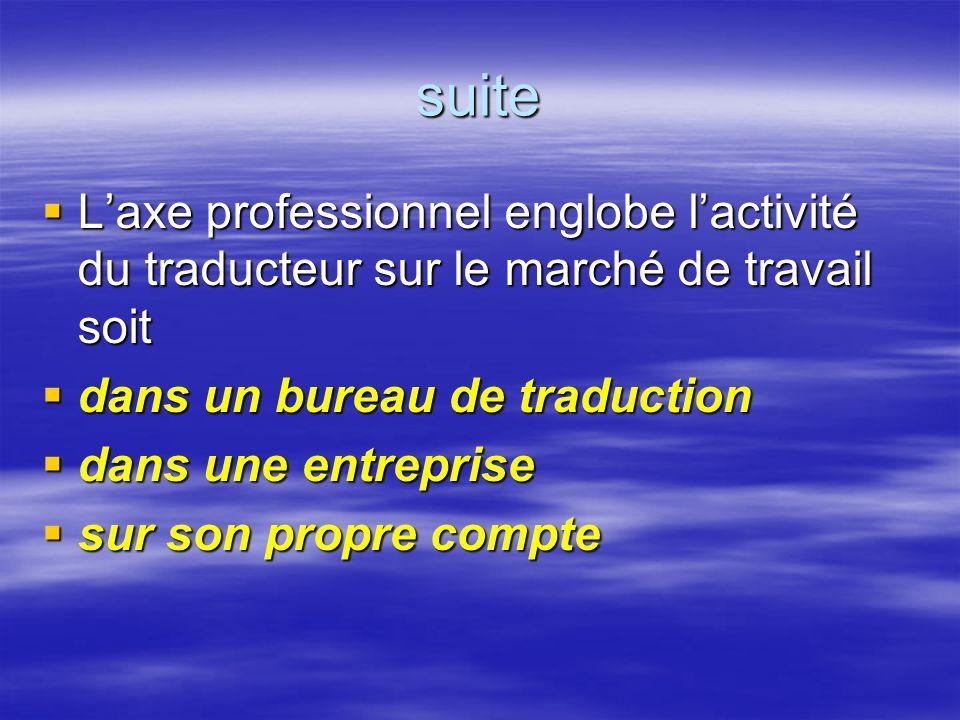 suite L'axe professionnel englobe l'activité du traducteur sur le marché de travail soit. dans un bureau de traduction.