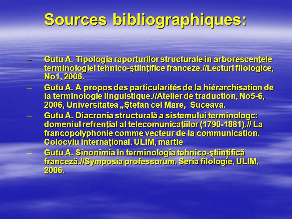 Sources bibliographiques: