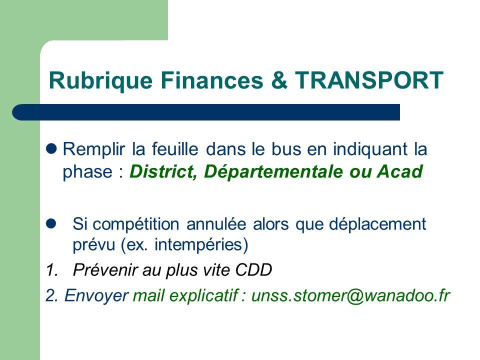 Rubrique Finances & TRANSPORT