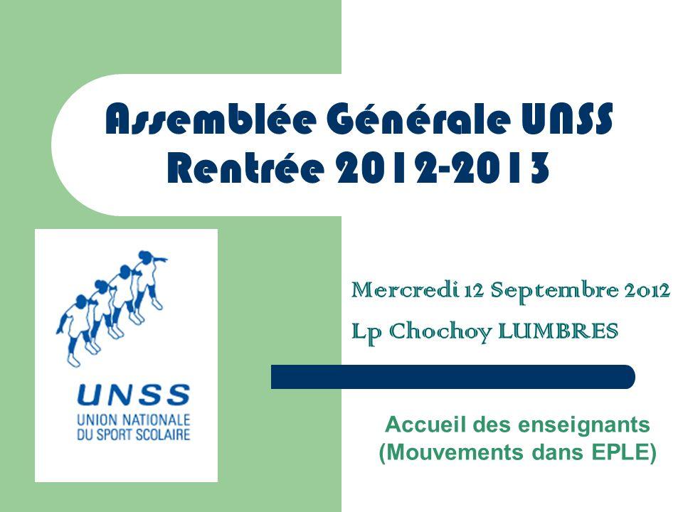 Assemblée Générale UNSS Rentrée 2012-2013