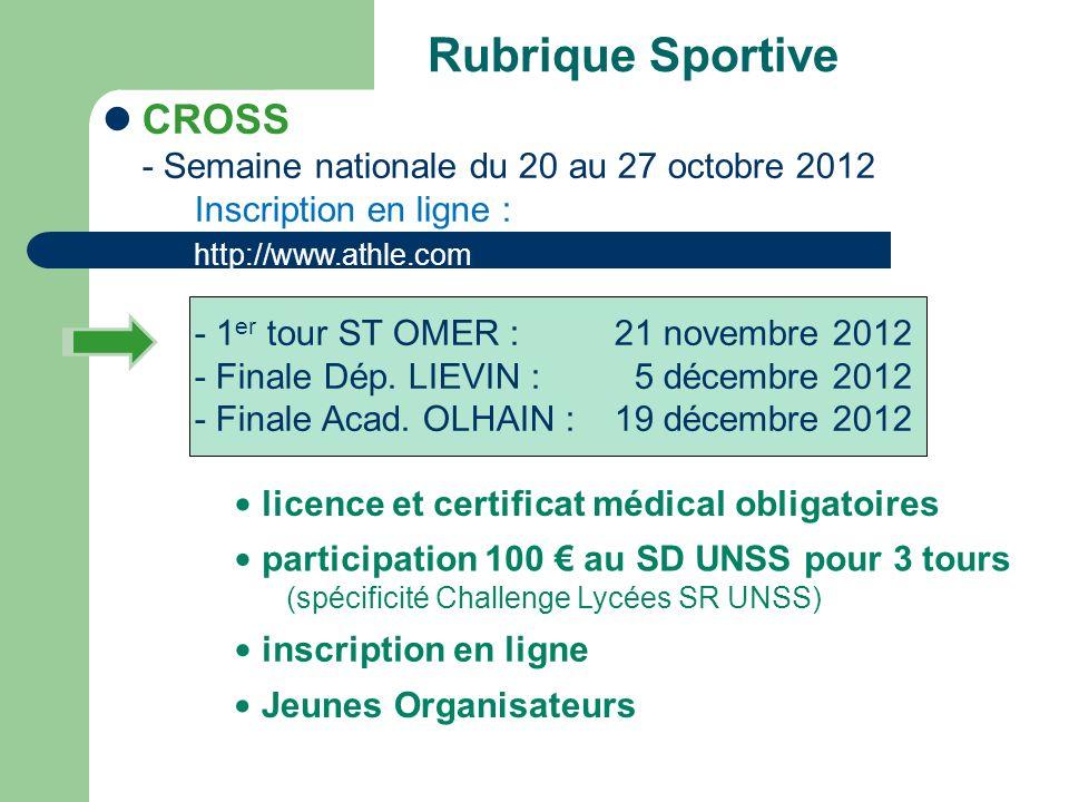 Rubrique Sportive CROSS - Semaine nationale du 20 au 27 octobre 2012