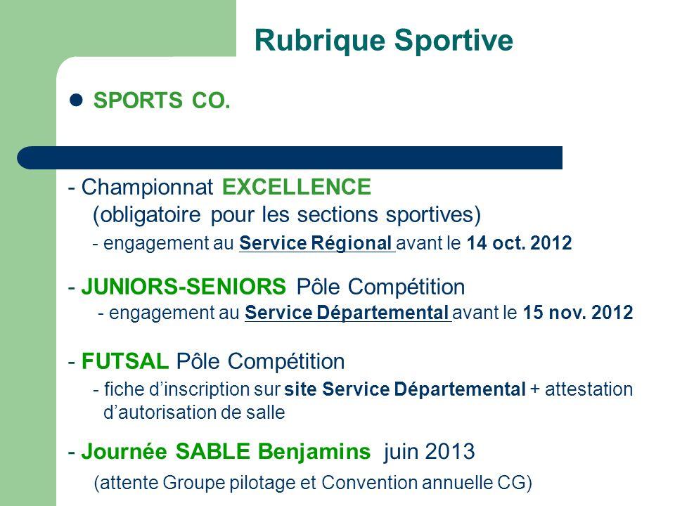 Rubrique Sportive SPORTS CO. - Championnat EXCELLENCE