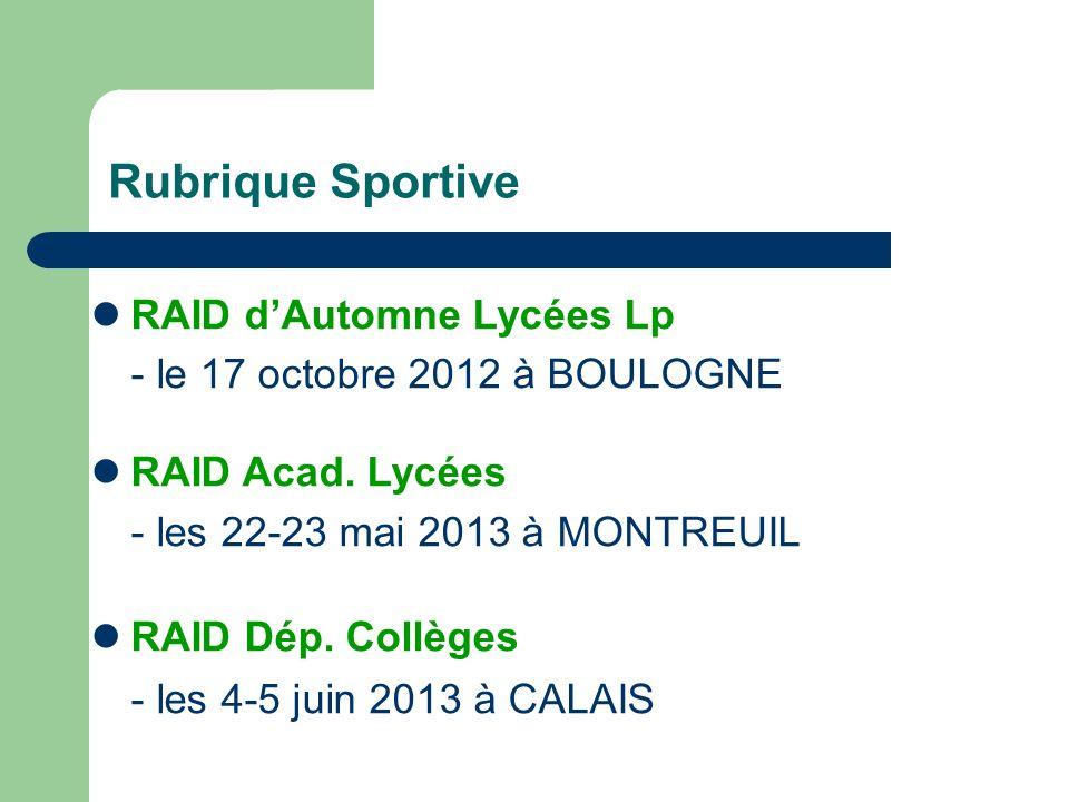 Rubrique Sportive RAID d'Automne Lycées Lp