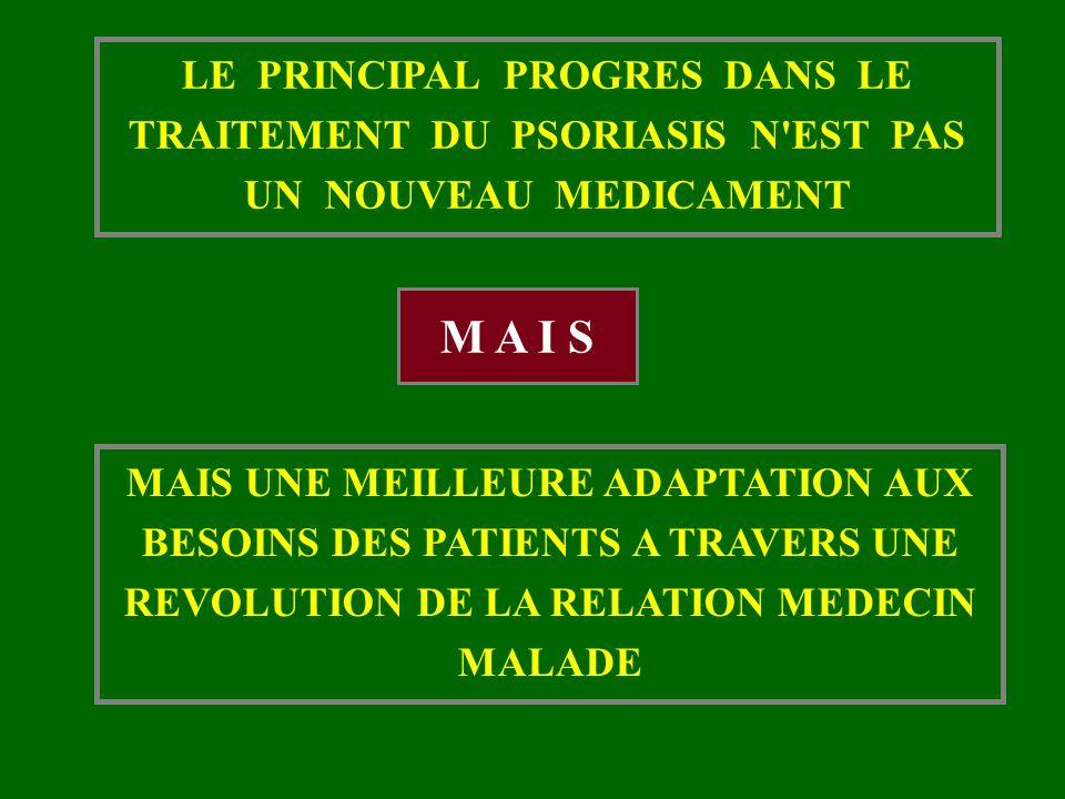 LE PRINCIPAL PROGRES DANS LE TRAITEMENT DU PSORIASIS N EST PAS UN NOUVEAU MEDICAMENT