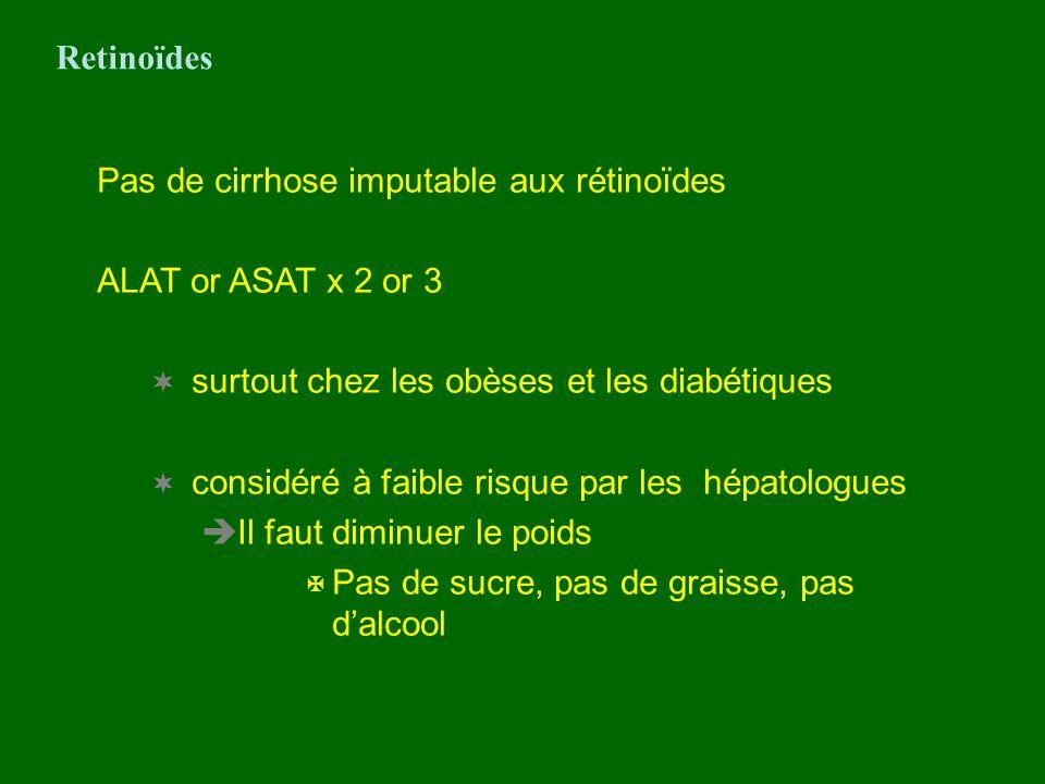 Retinoïdes Pas de cirrhose imputable aux rétinoïdes. ALAT or ASAT x 2 or 3. surtout chez les obèses et les diabétiques.