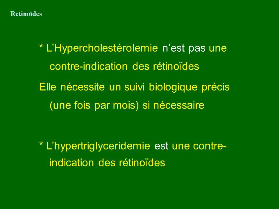 * L'hypertriglyceridemie est une contre-indication des rétinoïdes