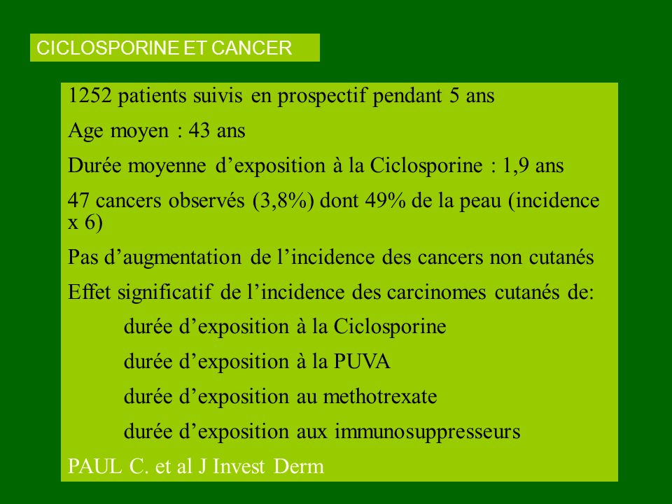 CICLOSPORINE ET CANCER