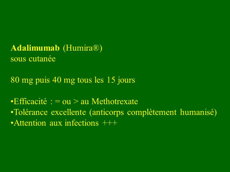 Adalimumab (Humira®) sous cutanée. 80 mg puis 40 mg tous les 15 jours. Efficacité : = ou > au Methotrexate.