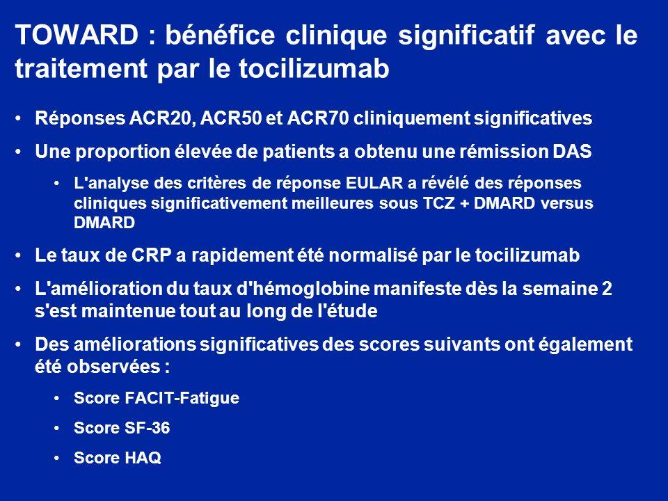 TOWARD : bénéfice clinique significatif avec le traitement par le tocilizumab