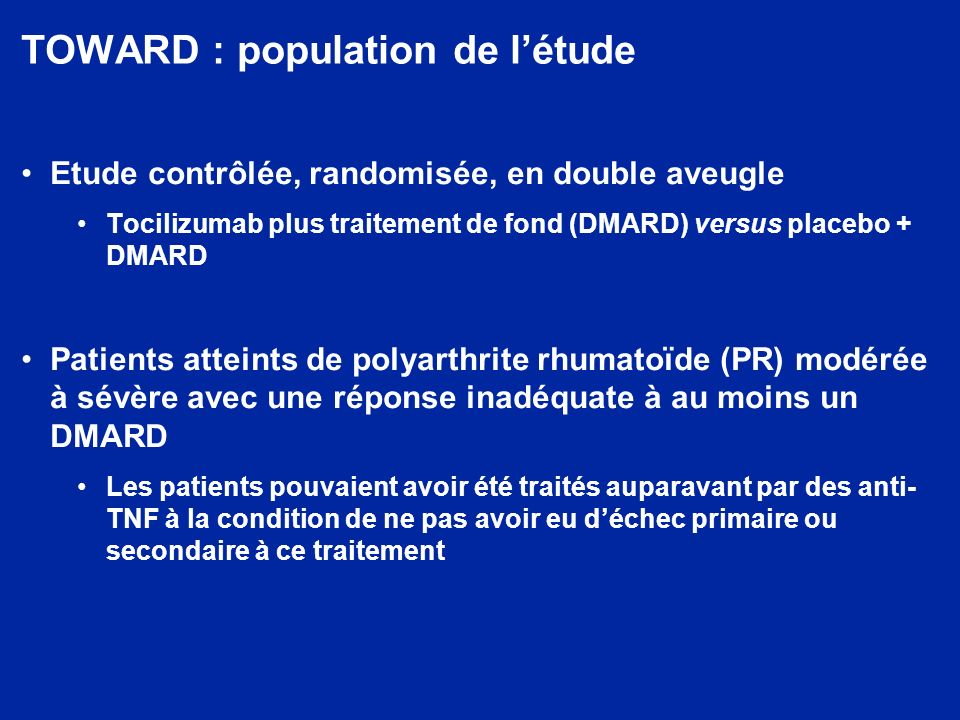 TOWARD : population de l'étude