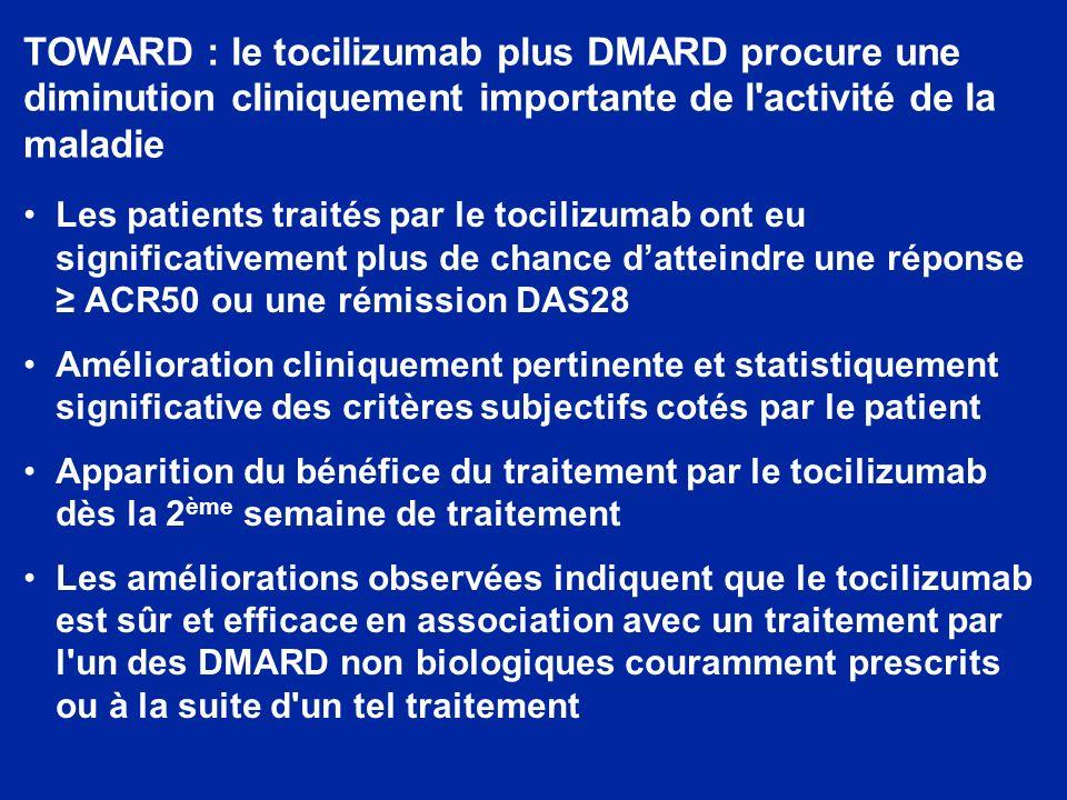 TOWARD : le tocilizumab plus DMARD procure une diminution cliniquement importante de l activité de la maladie