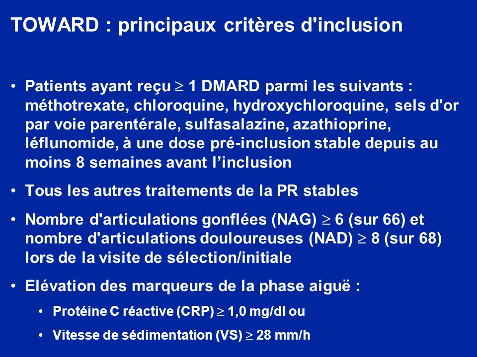 TOWARD : principaux critères d inclusion