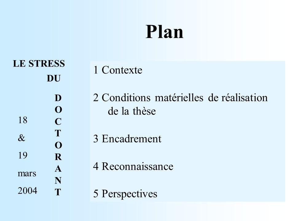 Plan 1 Contexte 2 Conditions matérielles de réalisation de la thèse