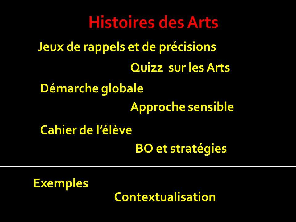 Histoires des Arts Jeux de rappels et de précisions Quizz sur les Arts