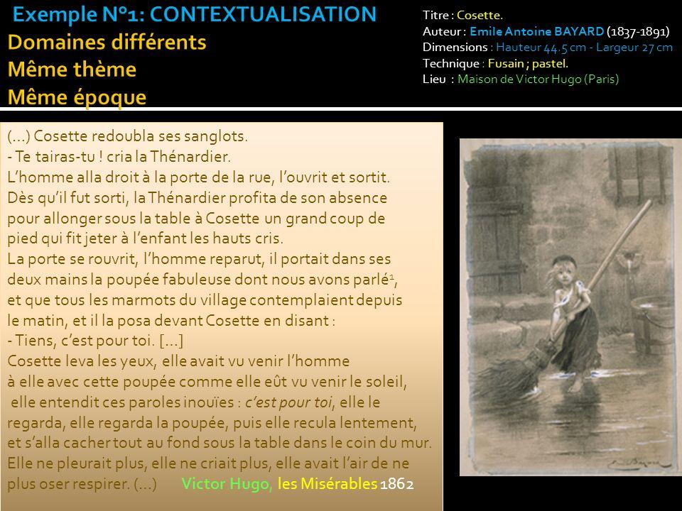 Exemple N°1: CONTEXTUALISATION Domaines différents Même thème Même époque