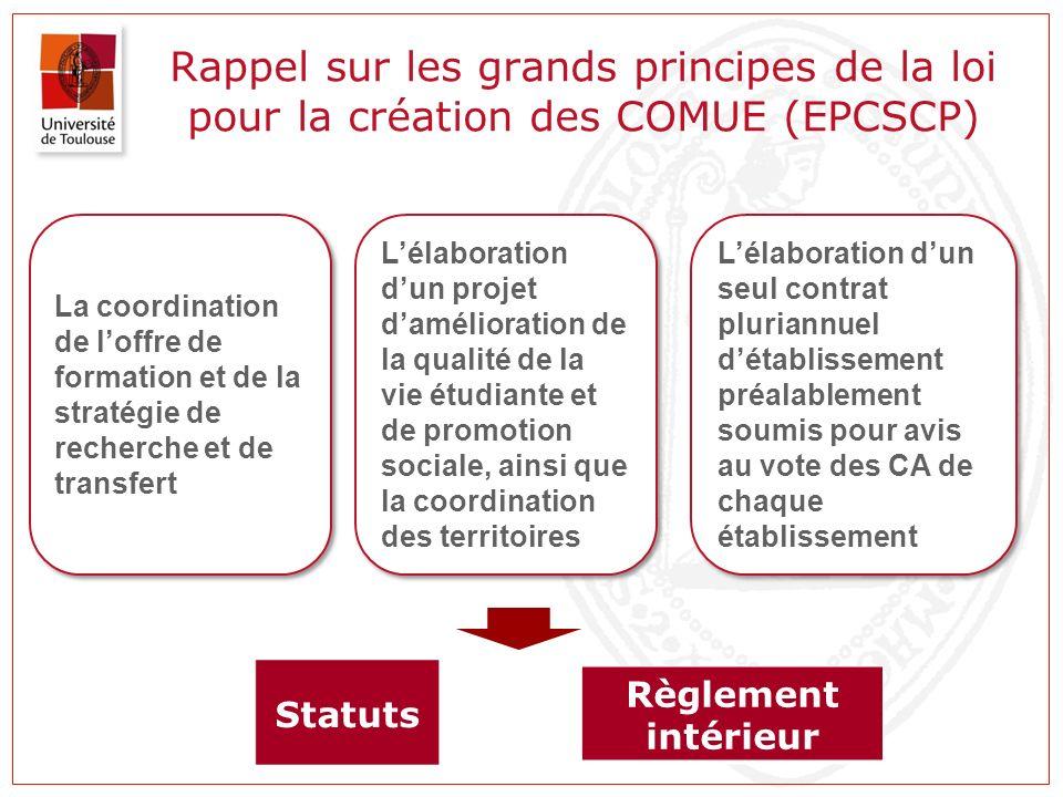 Rappel sur les grands principes de la loi pour la création des COMUE (EPCSCP)