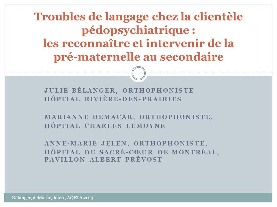 Troubles de langage chez la clientèle pédopsychiatrique : les reconnaître et intervenir de la pré-maternelle au secondaire