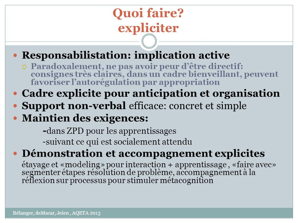 Quoi faire expliciter Responsabilistation: implication active