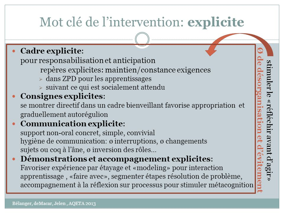 Mot clé de l'intervention: explicite