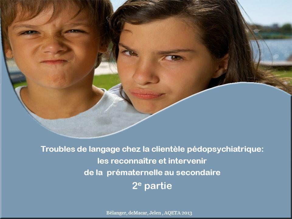 2e partie Troubles de langage chez la clientèle pédopsychiatrique: