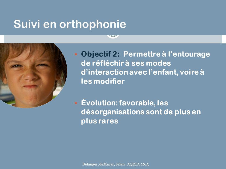 Suivi en orthophonie Objectif 2: Permettre à l'entourage de réfléchir à ses modes d'interaction avec l'enfant, voire à les modifier.