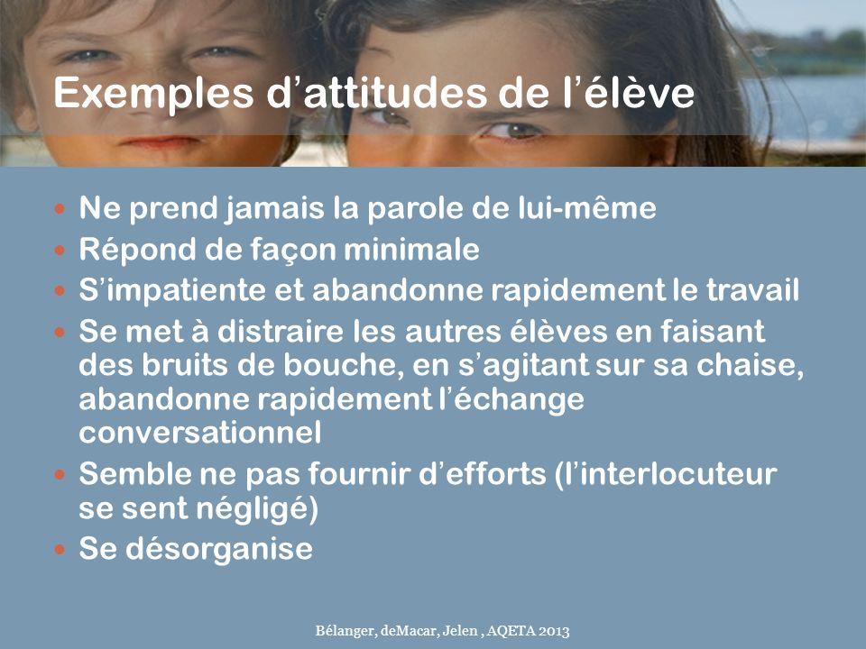 Exemples d'attitudes de l'élève
