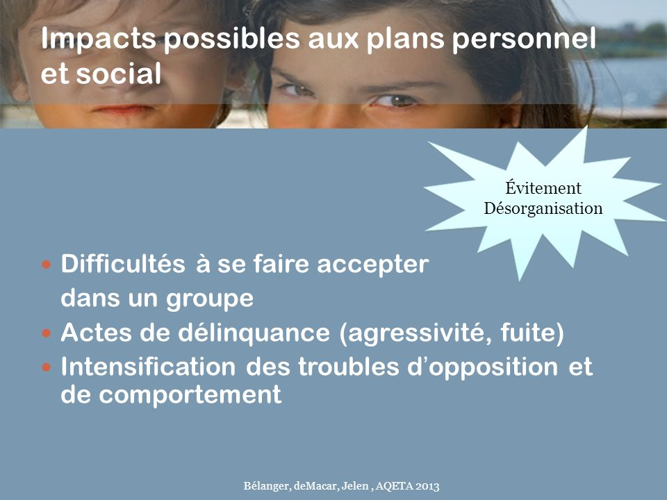 Impacts possibles aux plans personnel et social