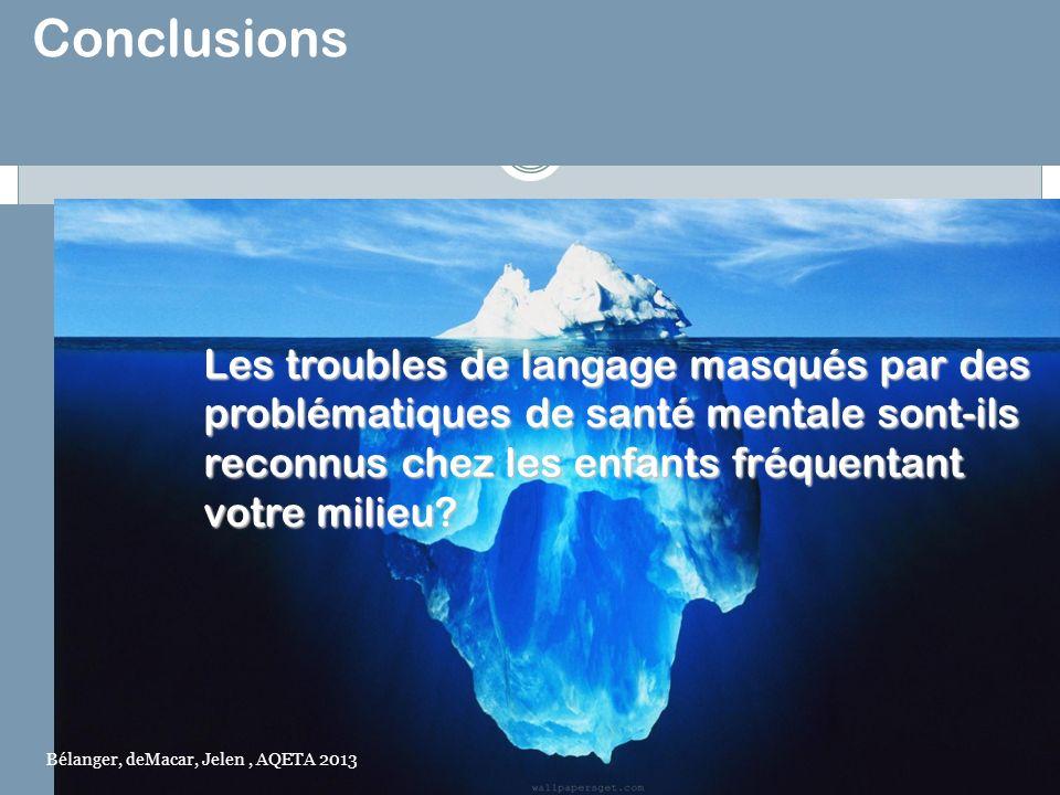 Conclusions Les troubles de langage masqués par des problématiques de santé mentale sont-ils reconnus chez les enfants fréquentant.