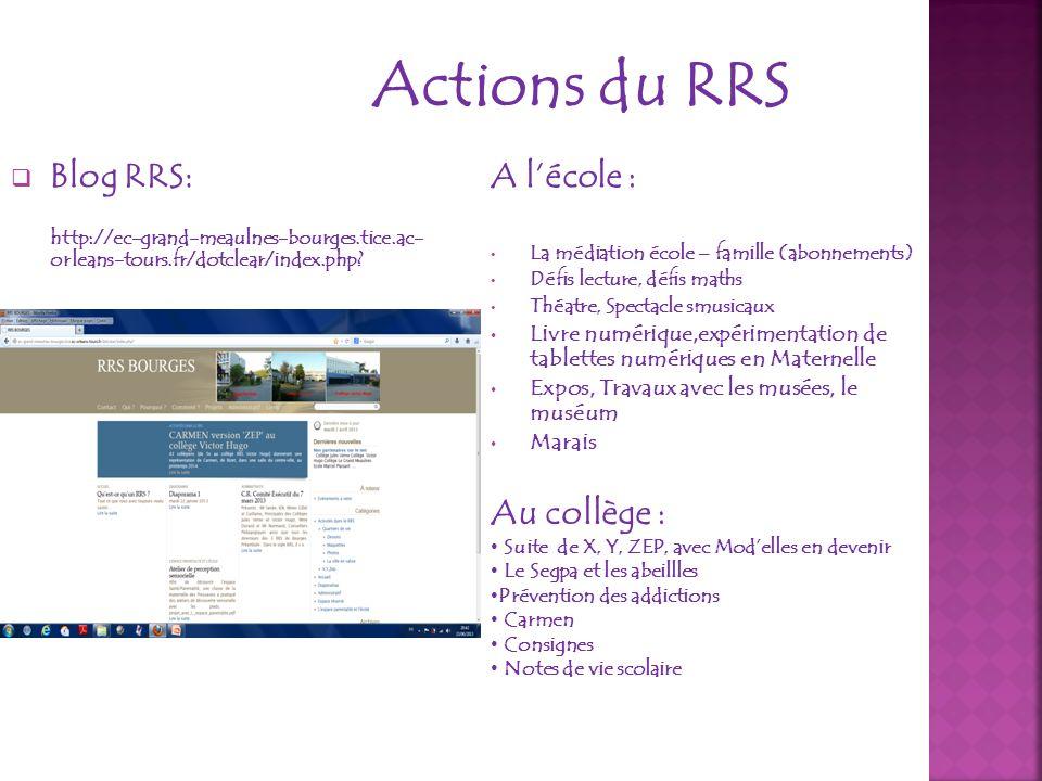 Actions du RRS Blog RRS: http://ec-grand-meaulnes-bourges.tice.ac- orleans-tours.fr/dotclear/index.php