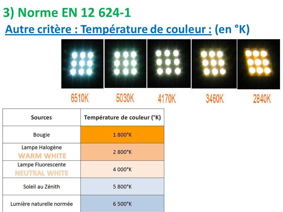 3) Norme EN 12 624-1 Autre critère : Température de couleur : (en °K)