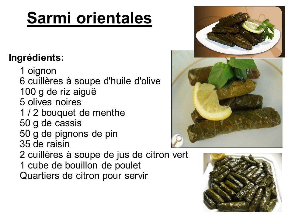 Sarmi orientales Ingrédients: