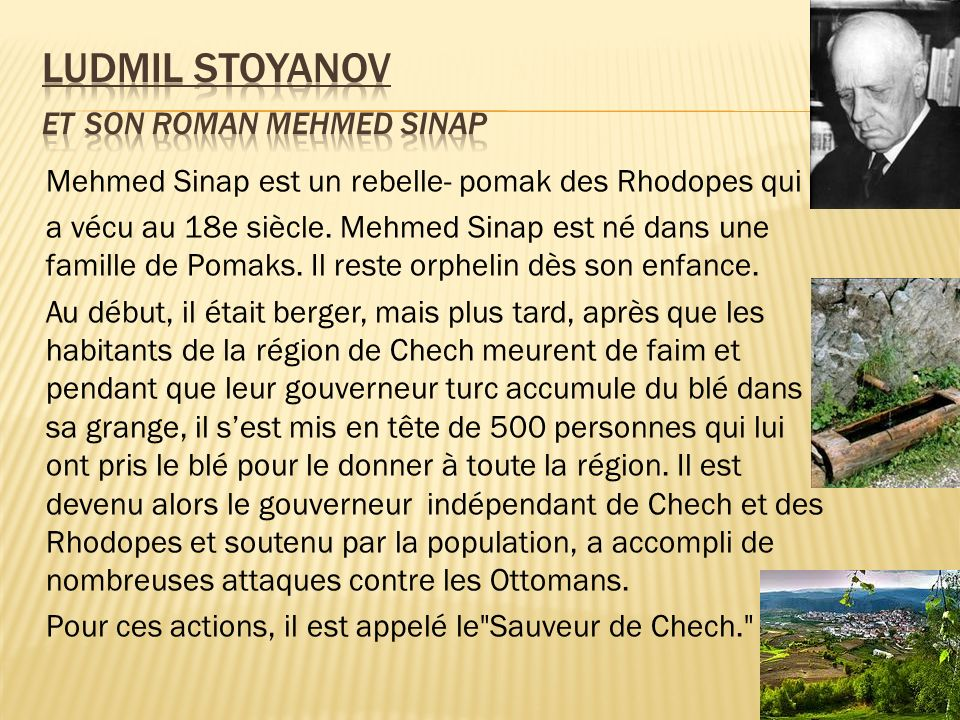 Ludmil Stoyanov et son roman mehmed sinap