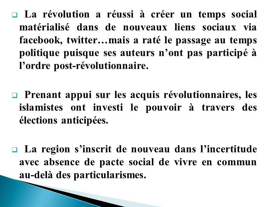 La révolution a réussi à créer un temps social matérialisé dans de nouveaux liens sociaux via facebook, twitter…mais a raté le passage au temps politique puisque ses auteurs n'ont pas participé à l'ordre post-révolutionnaire.