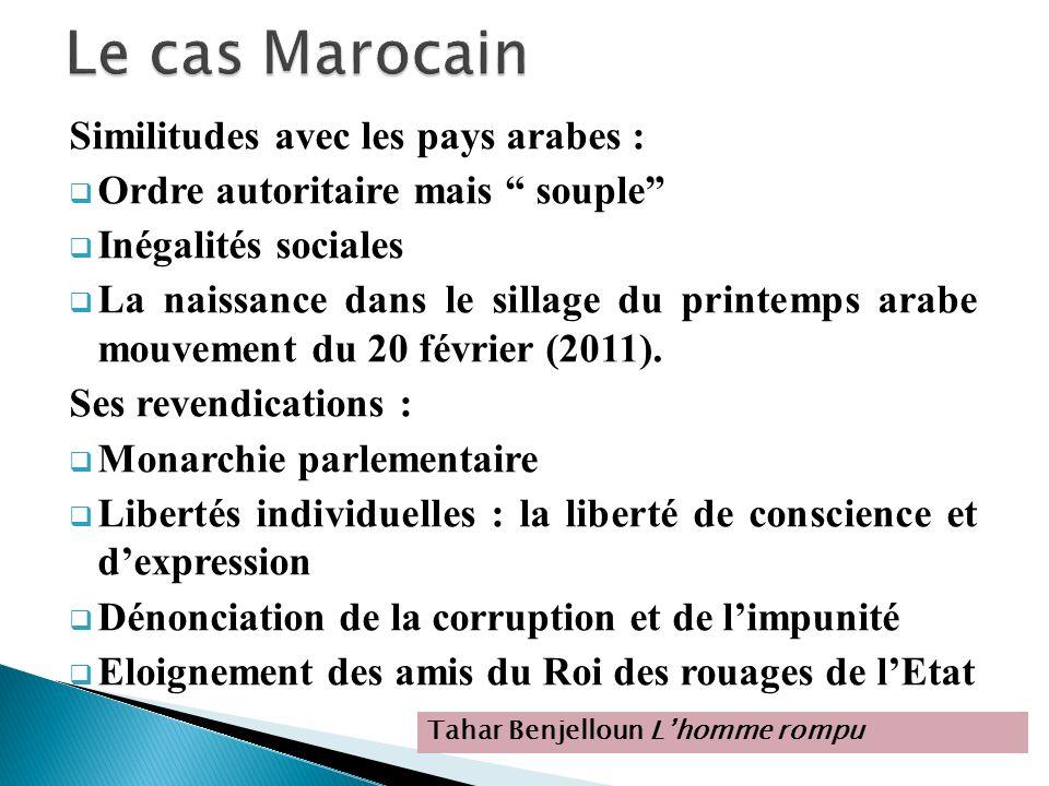 Le cas Marocain Similitudes avec les pays arabes :