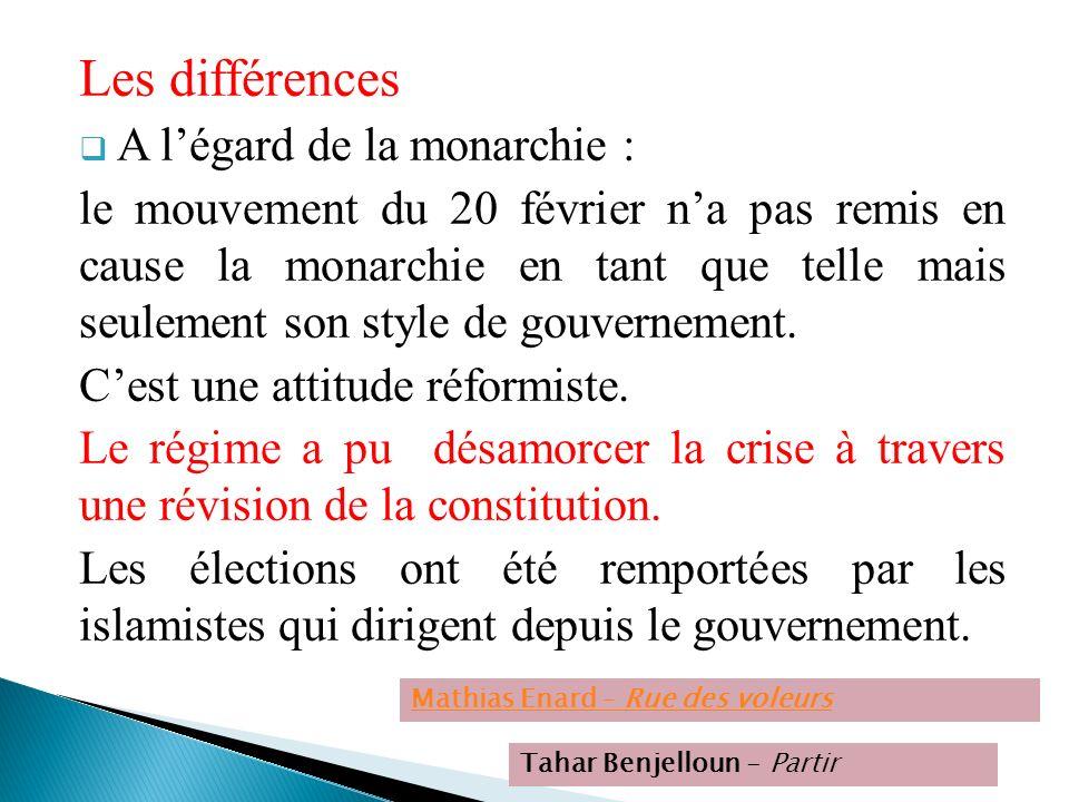 Les différences A l'égard de la monarchie :