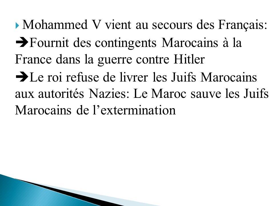 Mohammed V vient au secours des Français:
