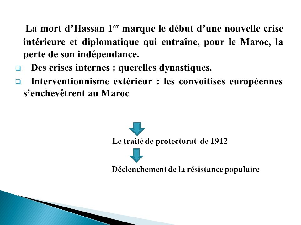 La mort d'Hassan 1er marque le début d'une nouvelle crise intérieure et diplomatique qui entraîne, pour le Maroc, la perte de son indépendance.