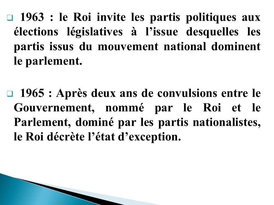 1963 : le Roi invite les partis politiques aux élections législatives à l'issue desquelles les partis issus du mouvement national dominent le parlement.